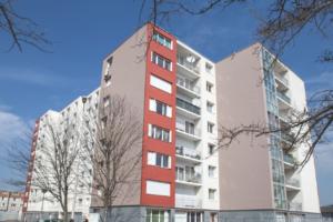 Groupe Sionneau Foyer Rémois Reims façade renouvellement urbain enduit mince bardage panneaux stratifiés
